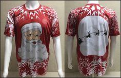 Santa and Reindeer full dye sublimation Christmas Shirt by myturtleshirts on Etsy