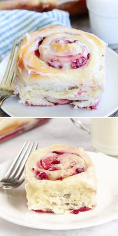 Get ready to indulge in this sweet breakfast idea or brunch recipe! These soft and fluffy Raspberry Sweet Rolls with cream cheese frosting are pretty and festive. Holiday baking has never been this delicious! Breakfast Items, Sweet Breakfast, Delicious Breakfast Recipes, Yummy Food, Sweet Roll Recipe, Best Cinnamon Rolls, Twisted Recipes, Raspberry Recipes, Fun Baking Recipes