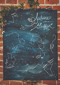 A love written in the stars! This cute constellation painted canvas will fit perfectly into your home, even if you aren't astrology enthusiasts. Image by Sarah Maren Photography