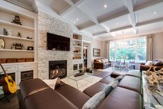 Houzz - Home Design, Decorating and Remodeling Ideas and Inspiration, Kitchen and Bathroom Stone Fireplace Designs, Stacked Stone Fireplaces, Linear Fireplace, Fireplace Built Ins, Fireplace Stone, Fireplace Wall, Fireplace Facade, Fireplace Ideas, Living Room With Fireplace