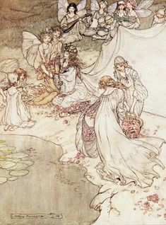 Afbeelding Arthur Rackham - Illustration for a Fairy Tale, Fairy Queen Covering a Child with Blossom