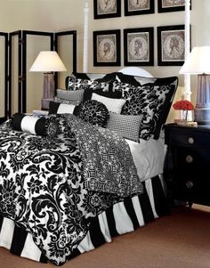 Damask Bedroom idea. Loveeee the bed skirt.. And mixed patterns!