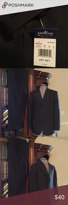 ARROW Suit Boys 14 Reg - NWT ARROW, Boys Size 14 Regular, Black, 2 Piece, Jacket Lined, Suit New With Tags. Arrow Jackets & Coats Blazers