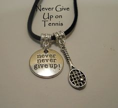 Never Give Up Inspirational and Tennis Pendant Necklace Unisex Silver or Black Suede on Etsy, $14.00
