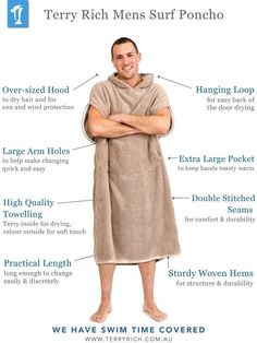 733de56830 High quality navy surf poncho   towelling changing robe for men. Perfect  for quick changes in public after swimming