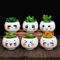 Items similar to Cute Expression Ceramic Small Flower Pots DIY Planter Succulent Plants Bonsai Pots Desktop Ornaments Office Decoration on Etsy Small Flower Pots, Painted Flower Pots, Painted Pots, Small Plants, Cactus Flower, Pots For Plants, Cactus Pot, Potted Plants, Succulent Pots