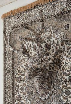 Persian rug mixed media installation by Debbie Lawson
