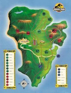 Jurassic Park. | 22 Perfect Maps Of Places That Don't Actually Exist
