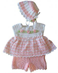 #82 Jamie Baby Set Crochet Pattern. http://www.maggiescrochet.com/jamie-baby-set-crochet-pattern-p-404.html#.UP7qhqxrQoE Sweet and dainty are two of the words to describe the Jamie Baby Set Crochet Pattern. Baby girls have all the luck when it comes to dressing up in cute fashions. Indulge your baby girl with baby set that features dainty rosebud embellishments on a delicate pink and white striped background.