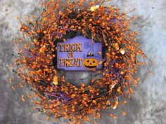 Halloween Trick or Treat Sign Berry  Wreath Fall by Designawreath, $44.95