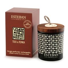 Esteban Paris Teck & Tonka Decorative Candle - 100% vegetable wax with a pure cotton wick.