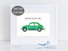 ► ► 1963 VW beetle watercolor original - Volkswagen art gift - VW bug watercolor - gifts for car lovers unique gifts for dad personalized gifts ◄ ◄   This painting is a watercolor rendition of the classic 1963 Volkswagen Beetle, also known as a Type 1 VW, a Super Beetle, a VW Bug, or the kid's favorite - a Punch Buggy. This is a made-to-order piece of art (not a computer print-out), and it can be customized by selecting one of my many color schemes.
