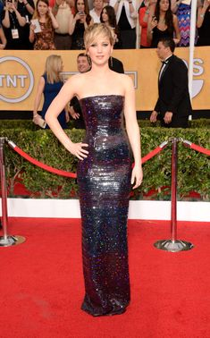 Jennifer Lawrence in Christian Dior in at the SAG Awards 2014 Red Carpet