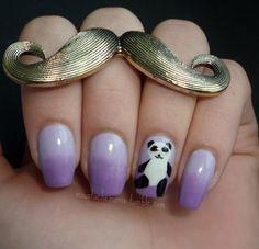 Purple panda nail art @Mayleen  <3 with a cute mustache ring!  I know my bbg!!