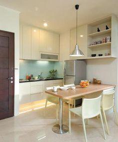 dapur mungil dengan meja makan, Desain Dapur Mungil Minimalis