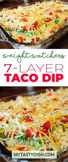 Layer Taco Dip come with 3 Weight Watchers FreeStyle Smart PointsSeven Layer Taco Dip come with 3 Weight Watchers FreeStyle Smart Points Skinny Recipes, Ww Recipes, Mexican Food Recipes, Cooking Recipes, Detox Recipes, Mexican Dips, Jucing Recipes, Snack Recipes, Mexican Tacos