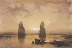 David Roberts - Egypt and Nubia, Volume II; Statues of Memnon at Thebes, during the Inundation, 1848