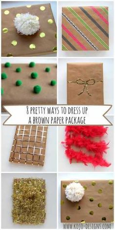 brown paper gift wrap  Christmas Gift Wrapping ideas Fun way to gift wrap gifts and presents with DIY Easy Creative