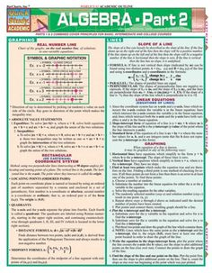 Algebra Part 2 Quick Review Guide. Browse and download thousands of educational eBooks, worksheets, teacher presentations, practice tests and more at www.Examville.com #studyguide #testprep #downloads #ebooks #free #education #classrooms #lessonplans #teaching #homeschool #school #college #teachers #examville #math #algebra #trigonometry #precalculus #Regents #APMath #SAT