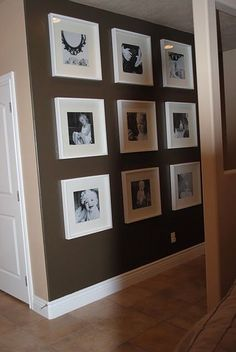 use Michaels $5 12x12 frames ( I think they call them record album frames). Black and white photo's, and you could even cut 12x12 scrapbook paper for the mat effects. - interiors-designed.com