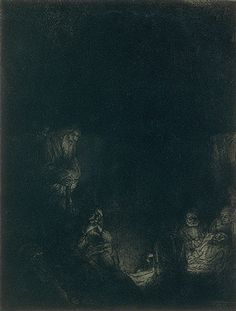 The Entombment-Rembrandt Etching, drypoint  Rembrandt left a veil of ink on copperplate as printed. This ink turns the previously brightly lit scene into a dark one -only the faces& hands of central figures are illuminated. By initially leaving this tone on the copperplate and wiping away the ink only where he wanted to leave touches of light, he printed both etched lines layer of ink left on the surface. As a result of painting  plates before printing each impression was unique.