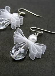 Angel Earrings, May Your Every Wish Come True, Christmas, Sterling Silver - Christmas Jewelry Beaded Christmas Ornaments, Christmas Angels, Christmas Crafts, Christmas Tree, Diy Christmas Earrings, Silver Ornaments, Diy Ornaments, Xmas, Christmas Poinsettia