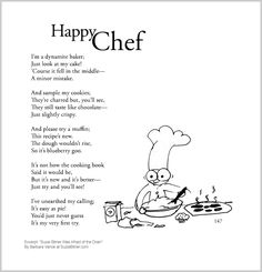 """Cute children's poem about baking and positive thinking. Great for classroom reading lessons for kindergarten, and grade, common core, and for ESL lessons. Excerpt from the poetry collection, """"Suzie Bitner Was Afraid of the Drain"""" by Barbara Vance. Esl Lessons, Reading Lessons, Classroom Projects, Poetry Collection, Gross Motor, Grandchildren, Cute Kids, Kindergarten, Poems"""