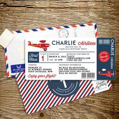 Airline Plane Ticket Birthday Invitation (Personalised Printables)