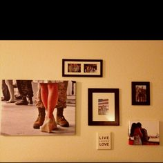 I live in military housing, so home decor options are limited.  Framing your fav pics can be a great way to jazz things up! My husbands' homecoming from Afghanistan was one of the best days of our lives. We decided to have canvas printed with some of our favorite images from that day. We used easycanvasprints.com. They were very affordable and will last us a lifetime.