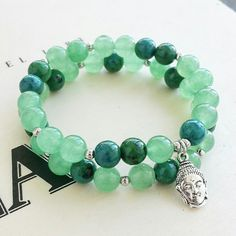 Aventurine and chrysocolla with sterling silver buddha charm stack available at www.bellazenbracelets.etsy.com