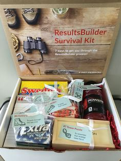 ResultsBuilder Box | Kick off the launch of a new project partnership with a themed survival kit. 1) Powerade: to help power up for the process 2) Smarties: to boost brain power 3) Swedish Fish: to remember you can't catch a fish without effort 4) Ballpoint Pens: to keep in mind that no thought is too small 5) Post-It Notes: to record big ideas 6) Extra Gum: to push through the last mile 7) Tower Puzzle: to remember that strategy takes focus