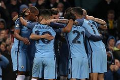 The Manchester City players celebrate Ilkay Gundogan's goal which made the score 31 during the UEFA Champions League match between Manchester City FC...