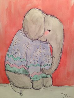 November 30. Elephant in a snowflake sweater. Watercolor and pen on paper.