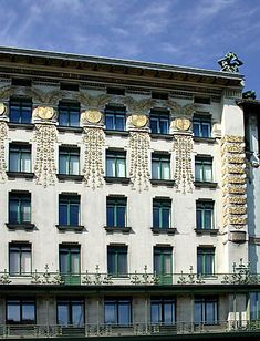 Medallion Building  Apartment Block Linke Wienzeile No. 38.The floral display crafted from tiles set into the facade was designed by turn-of-the-century Secessionist Koloman Moser   1899 by Otto Wagner