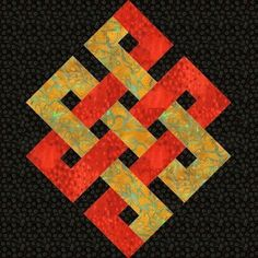 Eternity Knot paper pieced quilt block pattern PDF