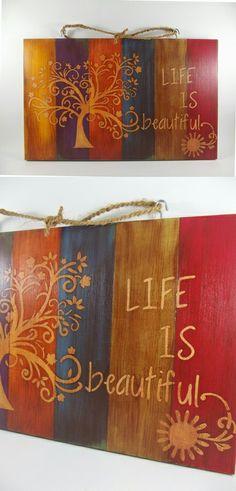 Tamamen el işçiliği ile, ahşap boyama ve stencil teknikleri kullanılarak dekorlanmış ahşap pano. Wood painting, handmade