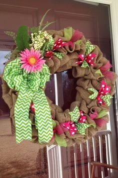 Spring Burlap Wreath, Pink Polka Dot, Green Chevron