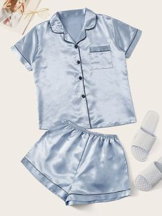To find out about the Contrast Binding Satin Pajama Set at SHEIN, part of our latest Night Sets ready to shop online today! Cute Pajama Sets, Cute Pjs, Cute Pajamas, Pyjama Sets, Sexy Pajamas, Satin Pyjama Set, Satin Pajamas, Pyjamas, Cute Sleepwear
