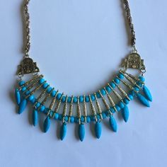 NWT faux suede woven gold and turquoise statement Brand new Jewelry Necklaces