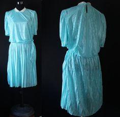 Vintage 80 day dress shinny striped dress by GrandmaHadItGoinOn, $23.00