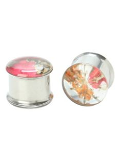Steel Pink And Orange Flower Saddle Plug 2 Pack
