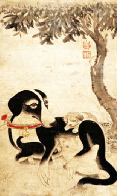 """Mother Dog and Puppies"" by Lee Am, Korea, 1507 - 1566."