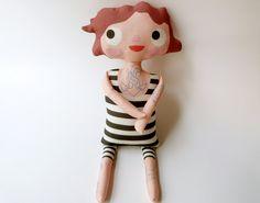 Tattooed Sailor Girl Doll/ Tattooed Plush Doll by JumpingBirds, $25.00