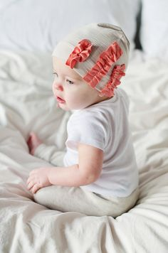 Girly Ruffle Beanie in Beige and Coral by Littlenuggetnoggins
