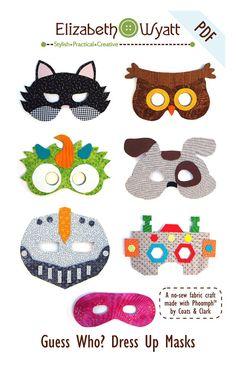 Guess Who Dress Up Mask Pattern No Sew Fabric by ElizabethWyatt