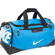 Nike Team Training Max Air Medium Duffel Blue Glow Black White All Purpose Duffels