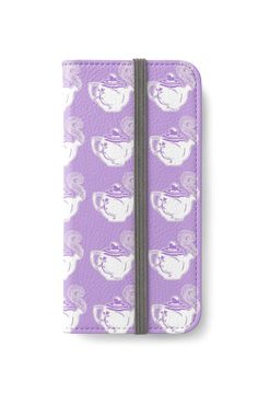 Teapots Purple and White Pattern iPhone wallet by Abigail Davidson at Redbubble