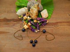 Gem Necklace Brass Necklace Elegant Boho Jewelry by OCcreation