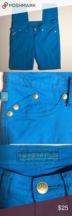 """Rock & Republic Colored Jeans Size 6. Bright blue. Cotton, rayon and spandex. Waist measures 31"""". Inseam is 31"""". These jeans are in excellent condition. They could easily be mistaken for new!   (9) Rock & Republic Jeans"""