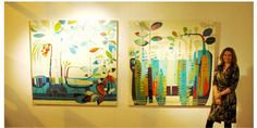 Tiffany Kingston with her works